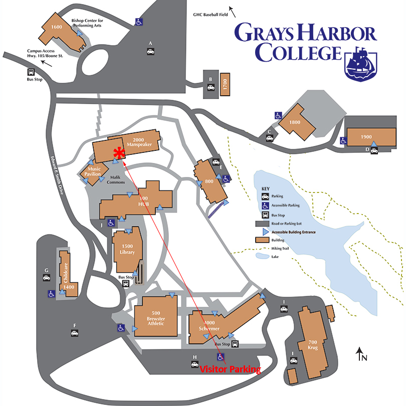 map of main GHC campus in Aberdeen with arrow pointing to the 2000 building location of the Foundation office.