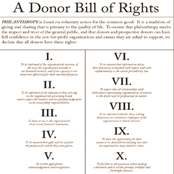 a small unreadable depiction of the Donor Bill of Rights document