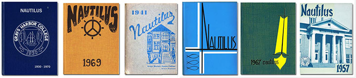 Covers of six Nautilus yearbooks