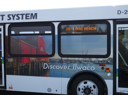 Pacific Transit bus on route 20 (serving the port of Ilwaco)