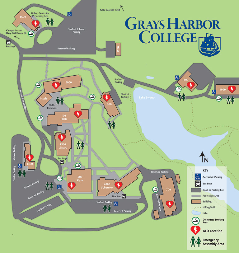 map of GHC main campus assembly areas.
