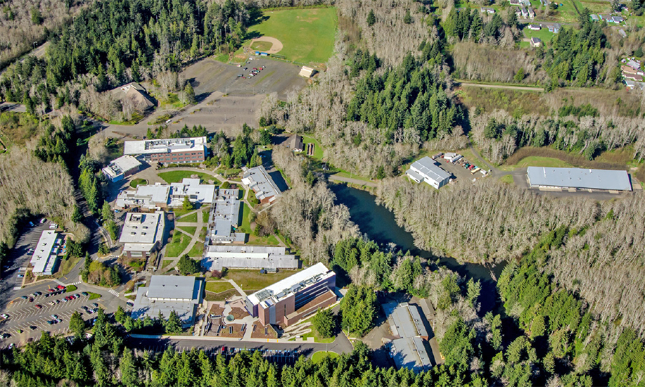 Grays Harbor College campus and the surrounding watershed seen from the air