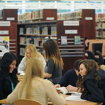 students at study tables in the John Spellman Library on GHC's main campus in Aberdeen, WA