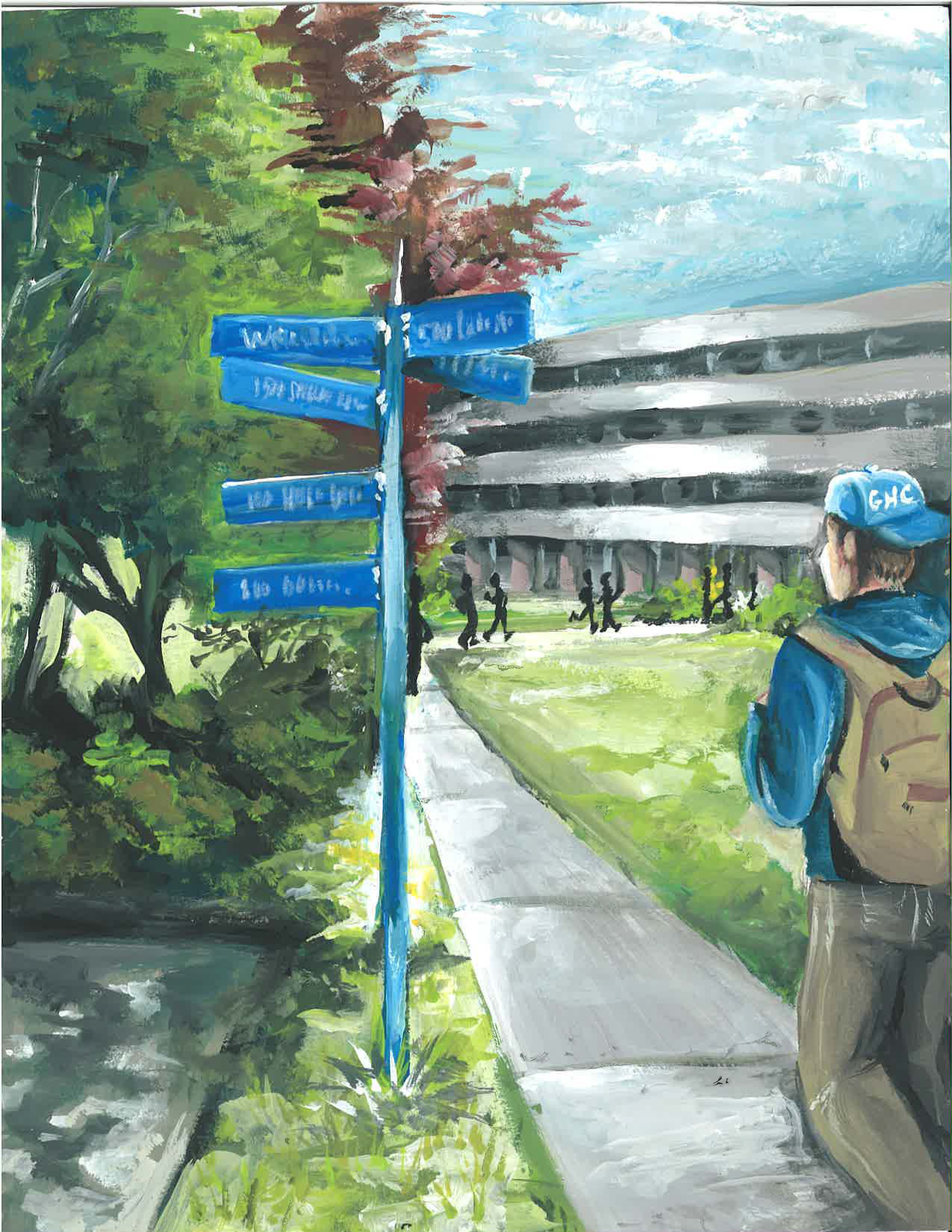Watercolor painting of male student with backpack on sidewalk heading past blue directional signs toward the Schermer Science Building