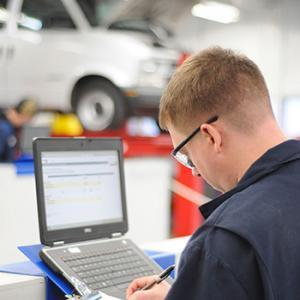 Student working in the Automotive program