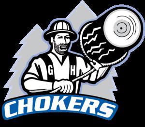 Charlie Choker Logo, Charlie holding a log on his shoulder.